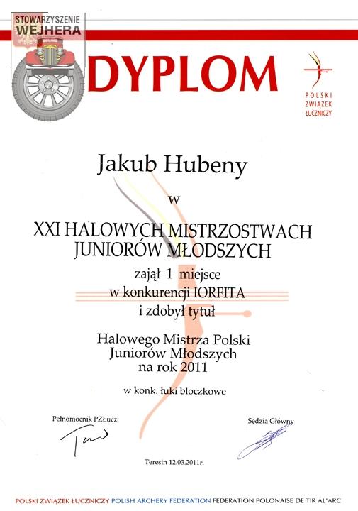 Dyplom Jakuba za zajęcie 1 miejsca w Halowych Mistrzostwach Polski