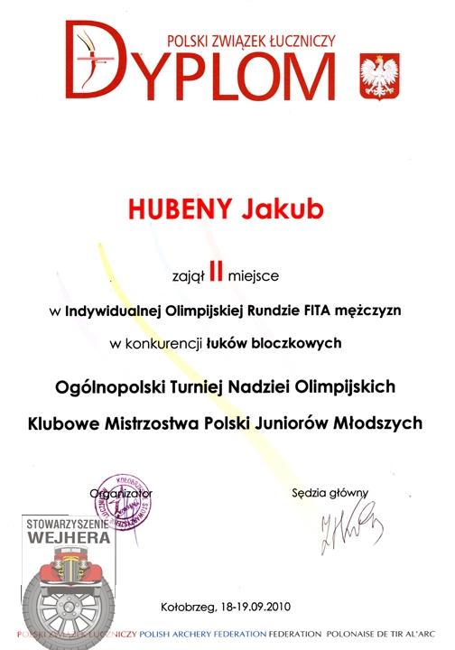 Dyplom Jakuba za zajęcie 2 miejsca w Ogólnopolskim Turnieju Nadziei Olimpijskich