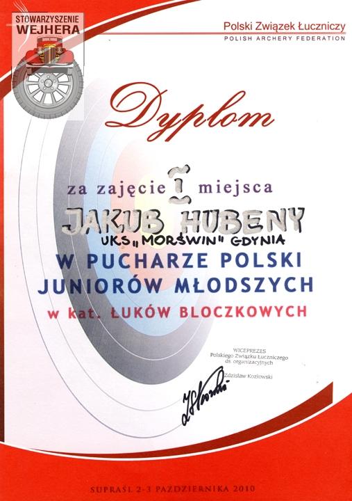 Dyplom Jakuba za zajęcie 1 miejsca w Pucharze Polski